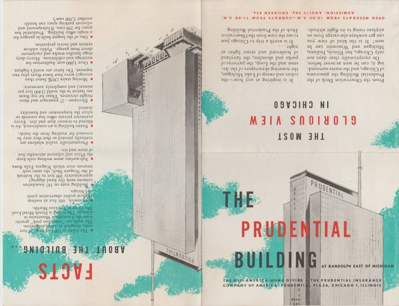 Prudential Building Observation Deck Brochure With Map Chicago IL, Vintage