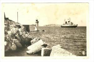 RP  Ship passing LIGHTHOUSE, Marseille, France 30-40s Phare de la Desirade