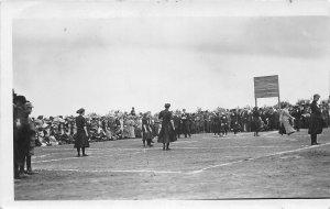 G32/ Coleridge Nebraska RPPC Postcard c1910 Girl's Basketball Game Team