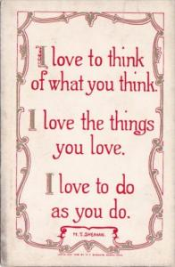 Motto Card I Like To Think Of What You Think by M T Sheahan
