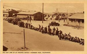 Pay Day Line Up Hammer Army Air Field Fresno California WWII postcard