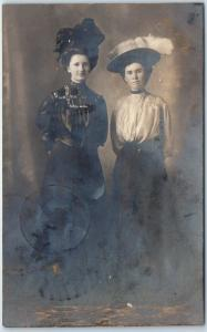 1908 Ohio RPPC Real Photo Postcard Young Ladies, Large Hats Fredericktown Cancel