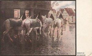 Horses in a Village Street A vintage German postcard