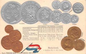 Coin Postcard, Old Vintage Antique Nederland