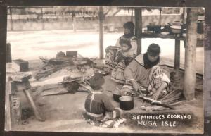 Mint USA RPPC Postcard Native American Indian Seminoles Cooking Musa Isle