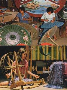 Thai Silk Spinning Umbrella Making 2x Thailand Craft Postcard s