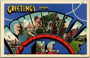 1940s ASHEVILLE N.C. North Carolina Large Letter Postcard Curteich Linen Unused