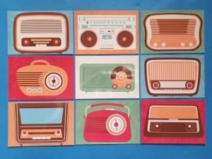 Set of 9 NEW Retro Vintage Radio Icon Postcards