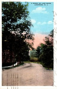 New Jersey Lakewood Scene On Lake Drive 1932