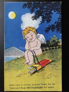Comic Postkarte: Romanze / Amor  Just Save a corner in ihrem Herz For Me