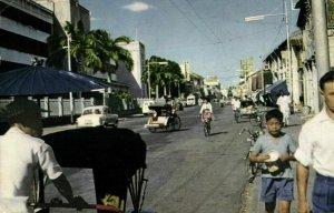 malay malaysia, PENANG, Penang Road, Car, Rickshaw (1950s) Postcard