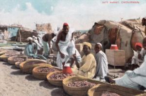Omdurman African Date Market Antique Sudan Postcard