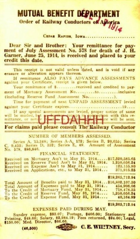 1914 MUTUAL BENEFIT DEPT Railway Conductors of America Death of J H GARNER