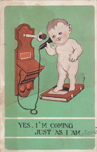Naked Boy Standing On Book Talking On Telephone
