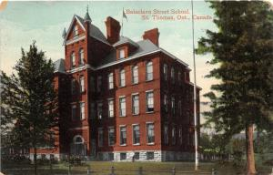 St Thomas Ontario Canada~Balaclava Street School~Trees on Lawn~c1910 Pc