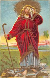 4949  Easter Jesus  holding lamb to Face