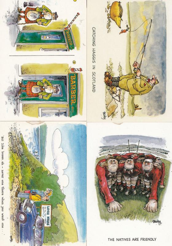 Scottish Barber Loch Ness Haggis Rugby 4x Comic Postcard s