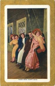 Those Were Happy Days~5 Elegant Young People on Porch Swing~Gold Border~1910