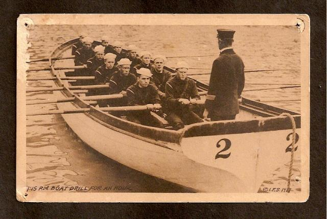 POSTCARD-VINTAGE - NAVY BOAT DRILL FOR 1 HOUR - DATE 1917