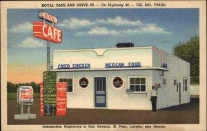 Del Rio TX Texas Royal Caf' Black Waiter COLORFUL LINEN Postcard
