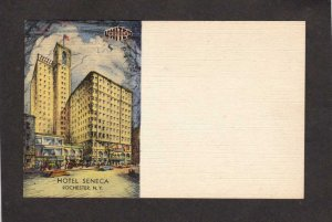 NY Vintage Hotel Seneca Rochester New York Postcard Meter Reply Card Ad PC