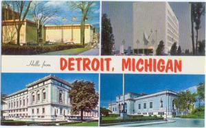 Hello from Detroit Michigan, 4 Views on One Card, MI