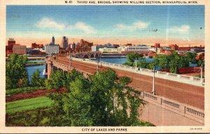 Minnesota Minneapolis Third Avenue Bridge Showing Milling Section 1947 Curteich