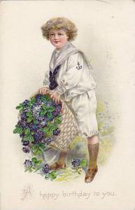 TUCK 105, A Happy birthday to you, Sailor boy, holding basket of purple flowe...