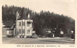 Routhierville PQ~Cabine Hotel Et Chalets de la Montagne~Cars~Gas Pump~1951 RPPC