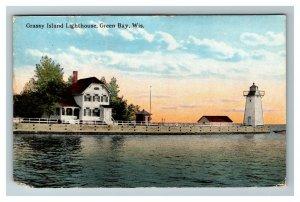 Green Bay WI, Grassy Island Lighthouse, Wisconsin c1910 Postcard Z54