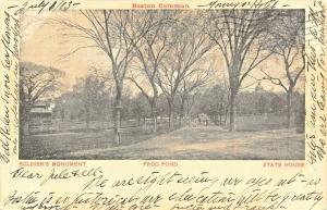 Boston MA~Boston Common~Gazebo~Soldiers Monument~Frog Pond~State House~1903 B&W