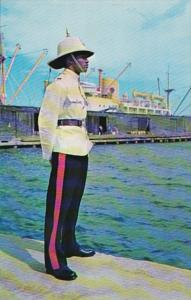 Jamaica Kingston Policeman In Dress Uniform On Waterfront Duty