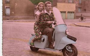 RP; Couple on a Motor Scooter , 30-40s #2