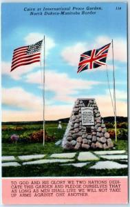 NORTH DAKOTA-MANITOBA Border  U.S-Canada  PEACE GARDEN Cairn  c1950s Postcard