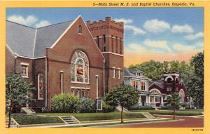EMPORIA VIRGINIA MAIN STREET METHODIST AND BAPTIST CHURCHES POSTCARD c1940s