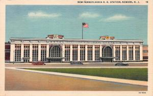 New Pennsylvania Railroad Station, Newark, N. J., Early Linen Postcard, Unused