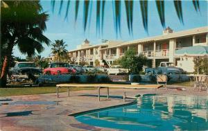 Arizona Desert Inn roadside Phoenix Arizona 1950s Postcard pool Towers 1600