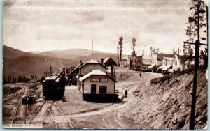 1911 ARROW, Colorado Postcard Railroad Depot View w/ Train On The Moffat Road