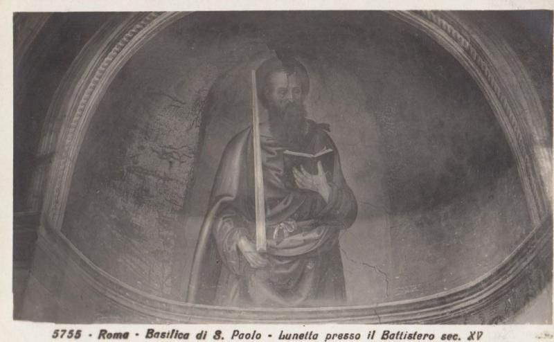 Rome Basilica Di Santa Paolo Lunetta Presso Il Battistero Italy Antique Postcard
