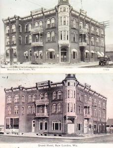 US - Grand Hotel, New London, Wis. Before and After Cards.