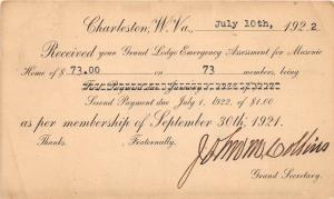 D68/ Charleston West Virginia WV Postcard 1922 Fraternity Masonic Lodge Receipt