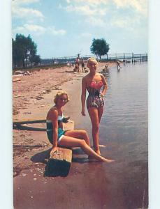 Pre-1980 risque PAIR OF SEXY CANADIAN GIRLS AT BEACH IN ONTARIO CANADA HL4131