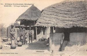 Dakar Senegal Africa Village Scene Topless Woman Antique Postcard J61051