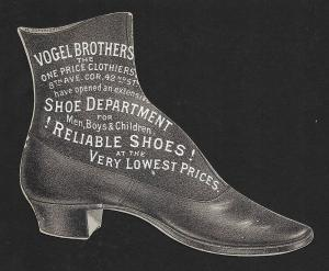 VICTORIAN TRADE CARD Vogel Bros Shoes Die-cut Shoe