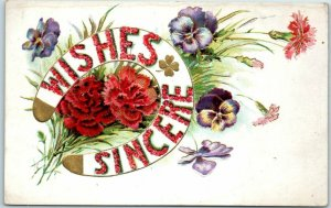 c1910s Greetings Embossed Postcard WISHES SINCERE Floral Letters Horseshoe