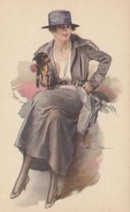 A. TERZI ; Art Deco Female Portrait with dog, 1910s ; #2
