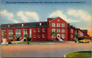 Parris Island SC - RECRUIT DEPOT - WW1 - MARINE BARRACKS postcard