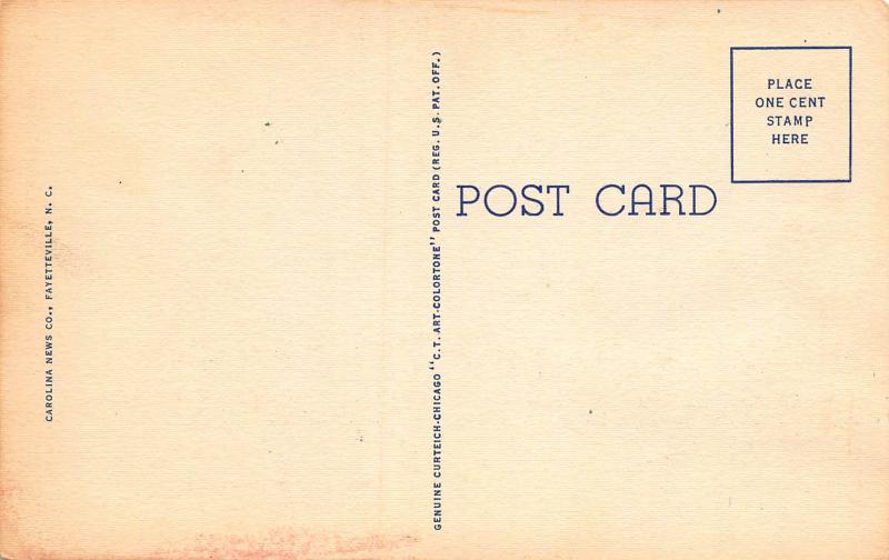 Hay Street, Looking West, Fayetteville, N.C., Early Linen Postcard, Unused