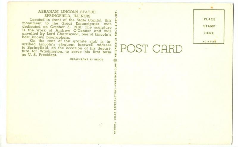Abraham Lincoln Statue, Springfield Illinois unused Postcard
