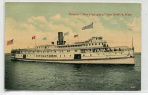 Steamer New Hampshire New Bedford Massachusetts 1913 postcard